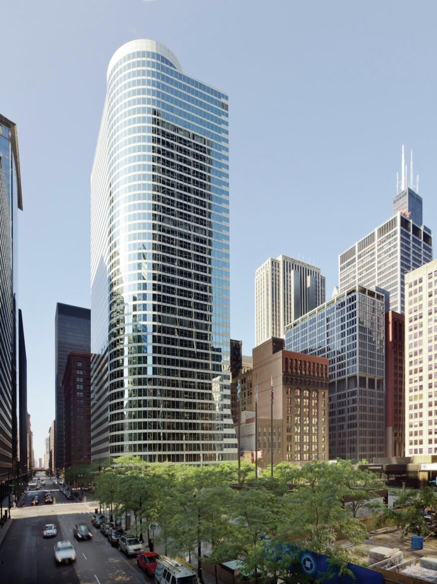 The Xerox Center in Chicago, designed by Helmut Jahn, FAIA, at CF Murphy and Associates, won a citation in the 1978 Progressive Architecture awards. Now called 55 West Monroe, the structure provides an anchor along both adjacent streets, making the most of its quarter-block, corner site.