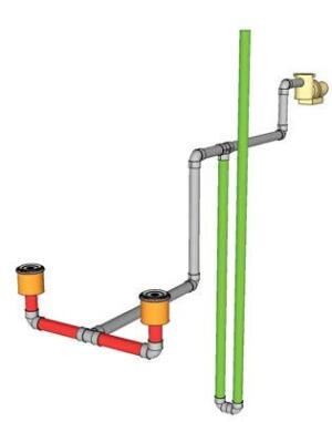 Individually tailored: Vent-line  configurations should be determined by a qualified engineer based  on the project parameters. This example branches down several feet  before going up to atmosphere, to prevent the line from evacuating  when the pump turns on.