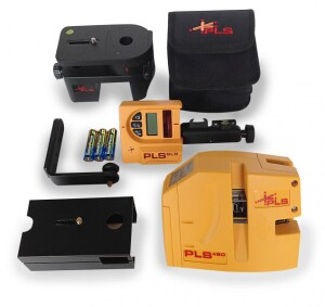 The system (or kit) version of the tool includes laser, pouch, magnetic wall bracket, floor stand, carry case, batteries, universal adapter, SLD detector, and case (not shown)