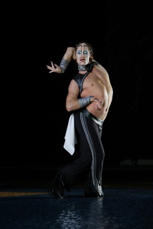 "On stage: Swimmer Bill May also performs in Cirque du Soleil's water show ""O"" in Las Vegas."
