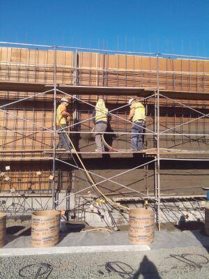 Jos. J. Albanese crew members applying Central Concrete mixes via wet-mix shotcrete process.
