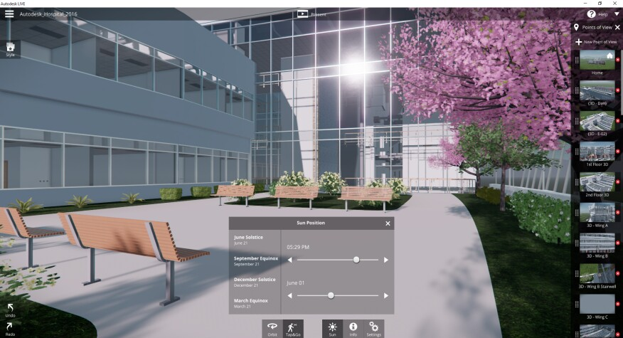 Designers can see how sun and shadows will look on their building throughout the year.