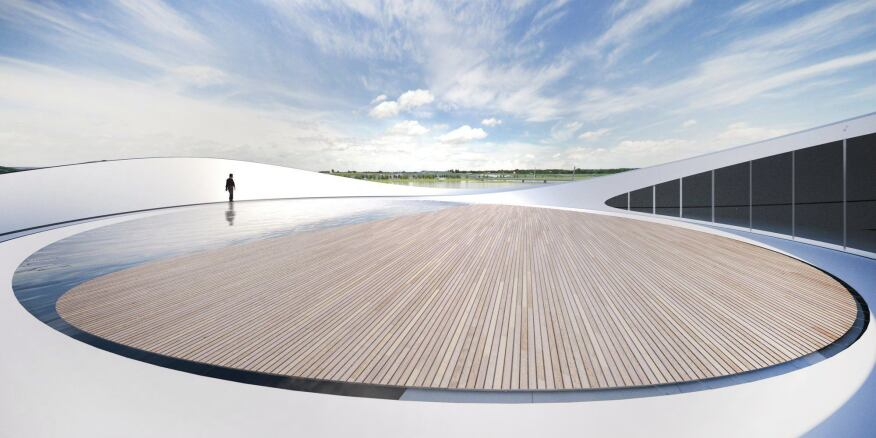 Panoramic views from the wood-lined roof deck of the ARC are actually one of the first things that visitors see: After entering the pavilion, they are whisked to this top level to experience the natural environment first-hand before venturing down into the multimedia galleries to experience the artistic interpretations of the surrounding landscapes.