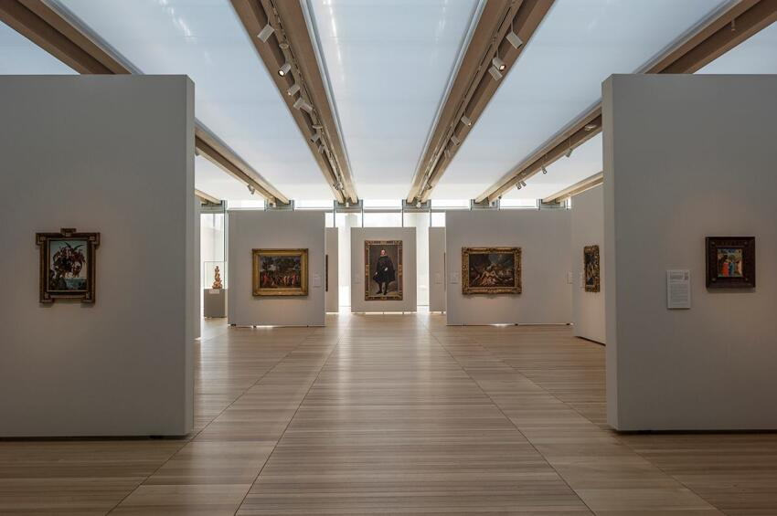 South Gallery interior, with art installed on 11-foot-tall moveable partitions. Photographed November 2013.