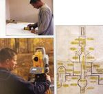 Left, top: Using total stations, layout work starts with loading control points and layout points into a data collector. Left, bottom: According Connor Smith, setting up a total station and running checks on the jobsite takes almost as long as laying out the points—about 30 minutes for setup and layout work on the average project. Below: Layout work for buildings has become more complicated. To lay out this house foundation accurately with a tape measure would be very difficult—perhaps impossible.