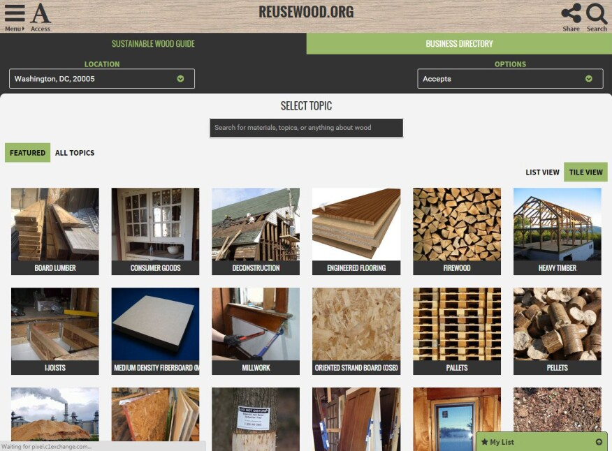 A screenshot of the materials guide from the new Reusewood.org.