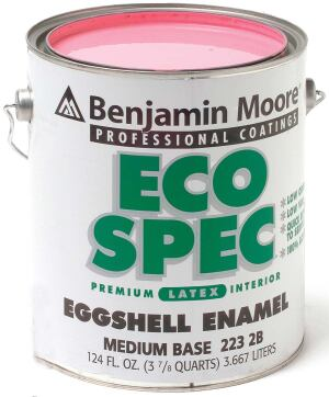 EcoSpec interior latex paint    Sherwin-Williamswww.sherwin-williams.com  Contains 50 grams of VOCs per liter    Meets Green Seal GS-11 and LEED standards    Complete line (including primer) has a range of finishes and hundreds of colors    ProGreen 200 Flat features the uniform characteristics of the other sheens with superior hide    Can be applied in occupied areas