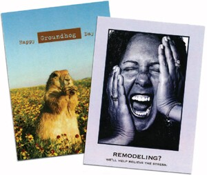 Mark Clark says it's fast, easy, and cost-effective to send customized cards like these to boost referrals.
