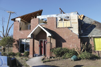 In the Garland-Rowlett tornado, homes suffered complete loss of the roof structure because wall plates weren't tied to walls with well-nailed structural sheathing, or roof members weren't securely fastened to wall plates.