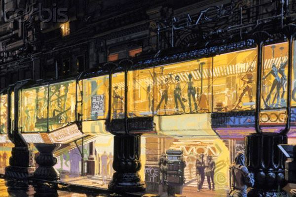 Syd Mead's design for the City of the Future in Ridley Scott's 1982 film Blade Runner.