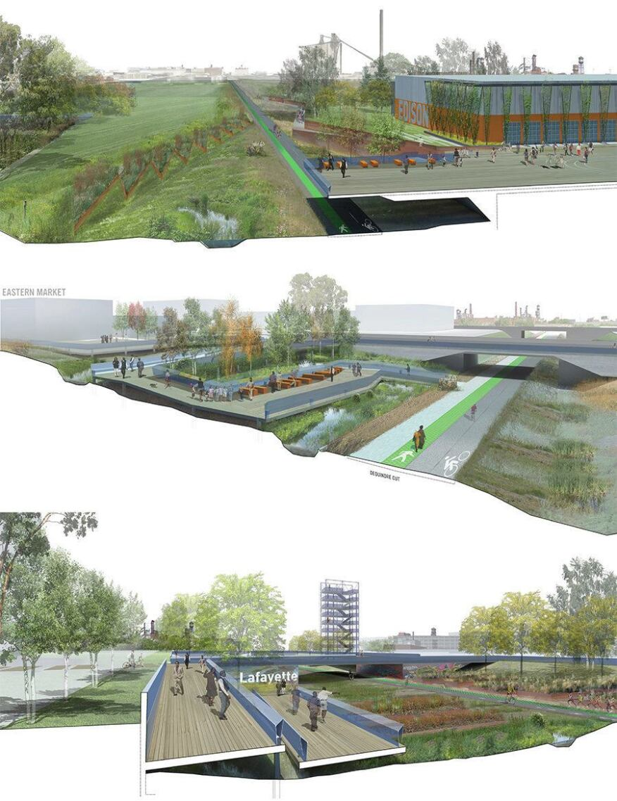 Renderings of the new walkway and water garden that would connect Detroit's Eastern Market and the Dequindre Cut, an abandoned railroad that's being turned into a public greenway.