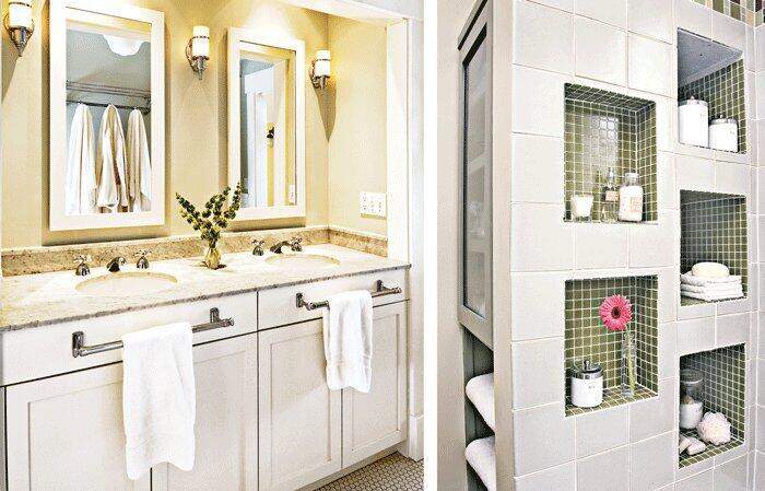 Period Look: (left) Two framed mirrors together make the bath feel larger and brighter.  Open Storage: (right) Add some much needed character to an otherwise bland bath.