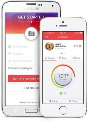 Homeowners can use the Heatworks app to monitor the Model 1 remotely.