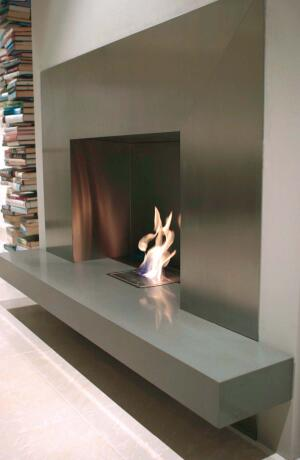 The environmentally friendly EcoSmart fireplace burns byproducts of sugar cane and other biodegradable items. The self-contained units require no fuel line or flue, but need a room dimension of at least 2,400 cubic feet for adequate ventilation.