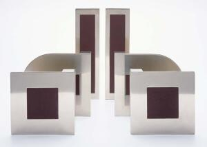 Pad door and drawer fittings are meant to be pushed and pulled. The line's manufacturer offers funky designs in finishes ranging from dark bronze and brushed or satin nickel to polished brass and bright chrome. Cut from solid-brass sheets, each piece is p
