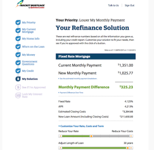 Quicken's interface for Rocket Mortgage, speeds the process.
