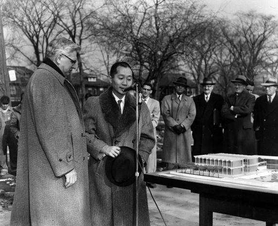 Minoru Yamasaki, speaking at a ceremony, date not listed.
