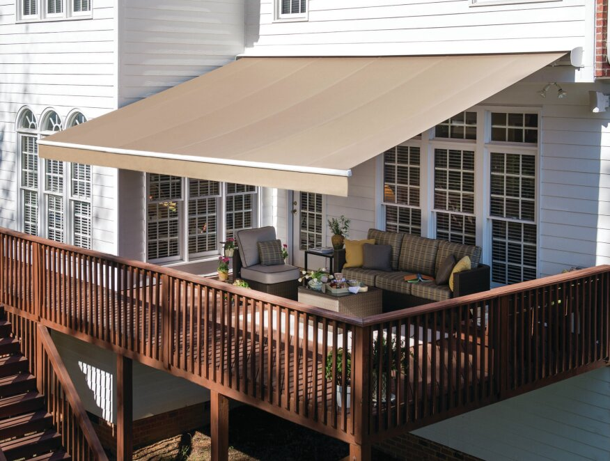 Fresh Look The Solair Pro retractable awning has been updated with a contemporary, sleep design and is available in a wide range of fabrics.