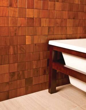 EVERITT &   SCHILLING CO.   The company reclaims and salvages old barn wood and cabinet scraps to make its Re-Grained line of decorative wood tiles. Tiles are available in such species as alder, cherry, hickory, and walnut, and measure 2 inches by 6 inches, 2 inches by 2 inches, and 4 inches by 4 inches. 888.573.5554. www.eandstile.com.