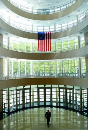 The main entrance to the Theodore Roosevelt U.S. Courthouse in Brooklyn, viewed from its second floor lobby.