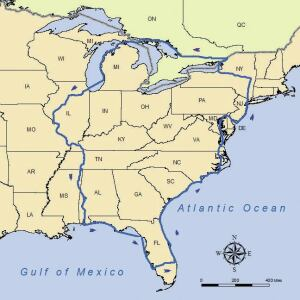 The Great Loop: 5,000 to 7,500 miles of intercontinental travel courtesy of the Atlantic and Gulf Intracoastal Waterways, Great Lakes, Canadian canals, and inland rivers.