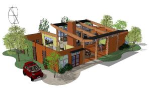 The 2010 AAHSA Idea House presents a modern front that hints at the openness of its interiors.