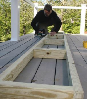 Figure 2. The outer frame of the planter box is essentially a stud wall made from treated lumber.