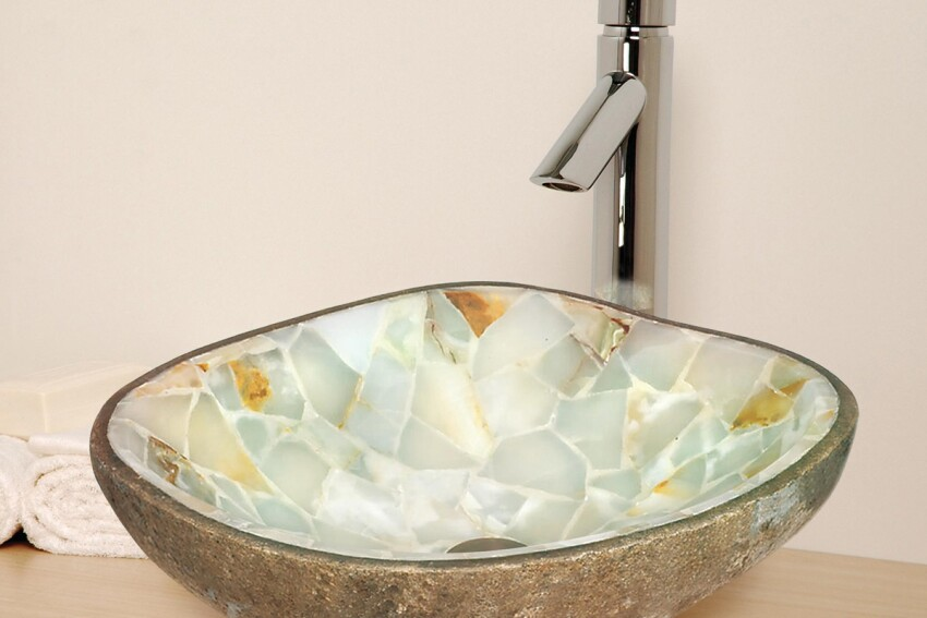 A Real Gem: Lenova Cobblestone Green Onyx Sink