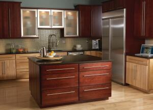 Armstrong.    Origins cabinets are crafted with PureBond urea-formaldehyde-free hardwood plywood using the ESP-certified companys Genuine Allwood all-plywood construction. The Origins option is available with most styles, including Calibra, shown here in Bordeaux and honey. 800.228.1804. www.armstrong.com.