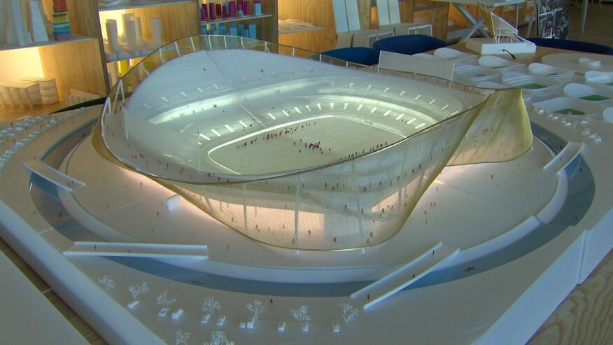 Model of the Redskins stadium design by Bjarke Ingels Group