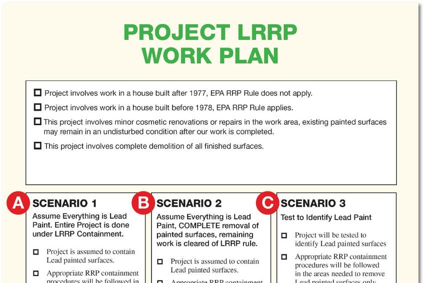 Estimating RRPís Cost: Lead-Paint Work Plan