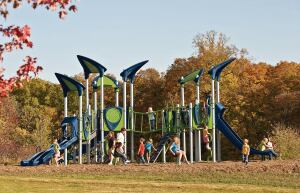 Play On: Landscape Structures' playground systems adorn schools, neighborhoods, and multifamily developments around the country. Now, the maker has added a modern twist to its offerings. Called PlayBooster Vibe, the new product lets developers introduce triangular shapes and interesting textures to their playground spaces.