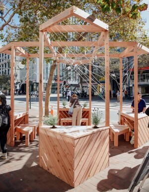 This swallowtail butterfly–inspired community pavilion, made of local redwood with cotton string detailing, was part of the 2016 San Francisco Market Street Prototyping Festival.