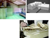 So homeowners could visualize selection materials and layout, Thomas Buckborough created this detailed interior model (top left). His conceptual massing model shows how an addition would enhance a historic home (top right). Architect Doug Walter's balsa wood and cardboard model convinced a contractor the hyperbolic paraboloid roof could be built using straight framing members (bottom).