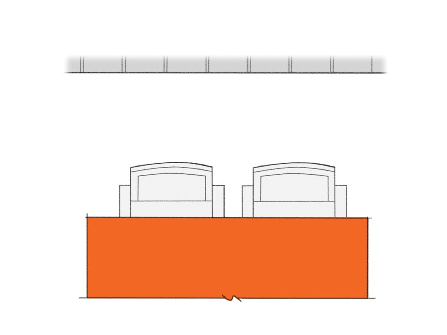 Allow a minimum of 24 inches for each seat, and 30 to 36 inches for more accessible seating. If no traffic at all is expected behind seating, provide at least 32 inches of clearance. 48 inches of clearance is needed for people to walk past unobstructed.
