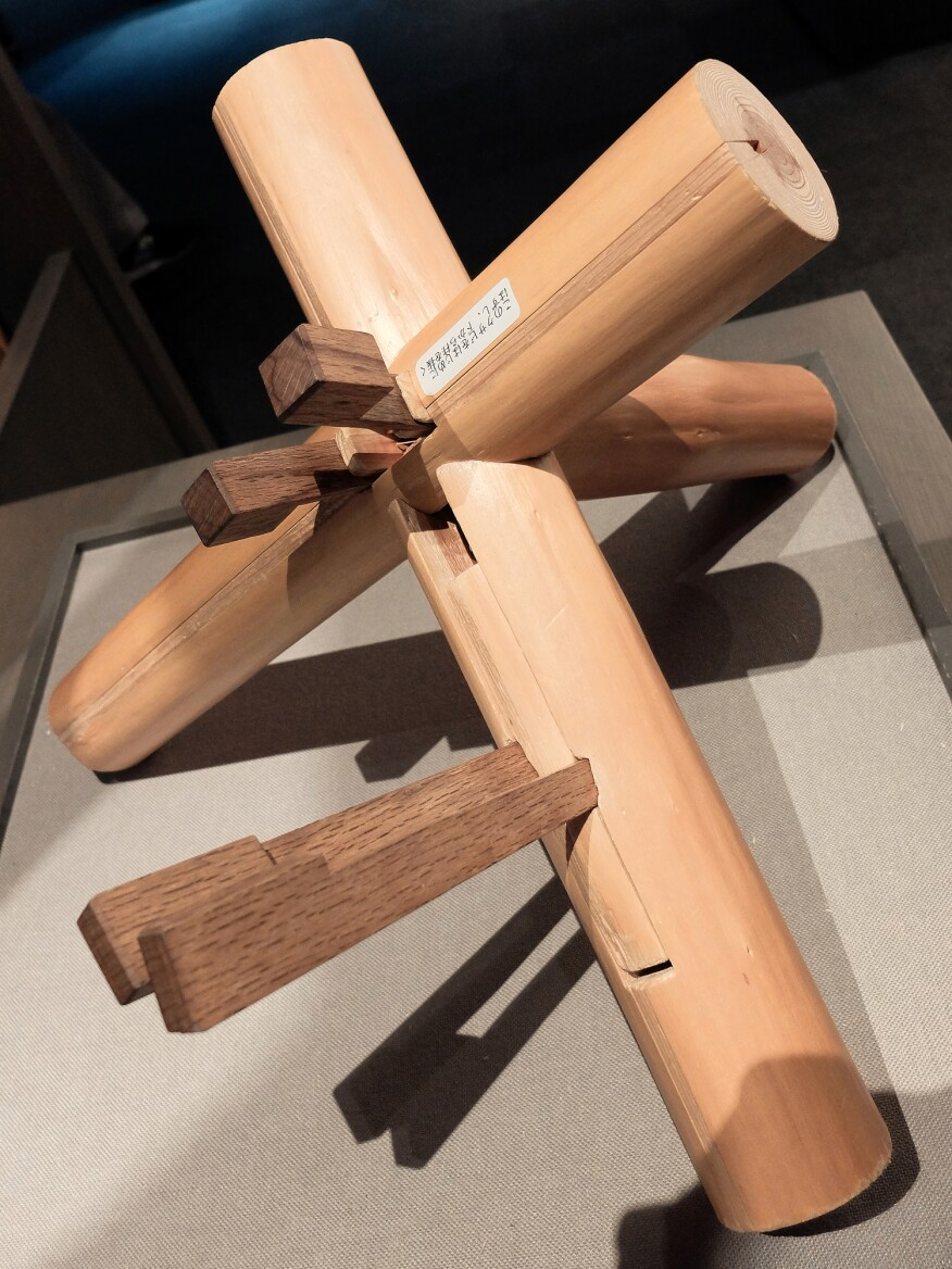 A sukiya structural joint made from Hinoki cypress: painstakingly intricate yet seemingly simple when completed.
