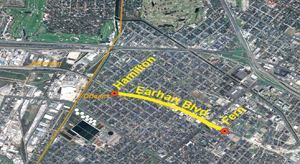 New Orleans Department of Public Works will soon begin the first phase of rebuilding Earhart Boulevard, from Hamilton Street to Fern Street, with $11 million in stimulus funding. Image: Regional Planning Commission
