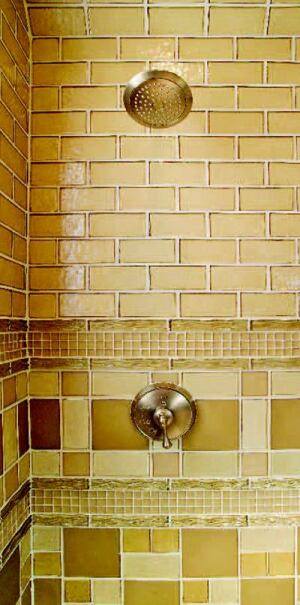 BEGUILING TILE: Interior designer Donnie Saxon's shower compositions go for broke, pushing  glass to the max. One harlequin-style design (below) uses Crossville deco tile to simulate  grout lines.