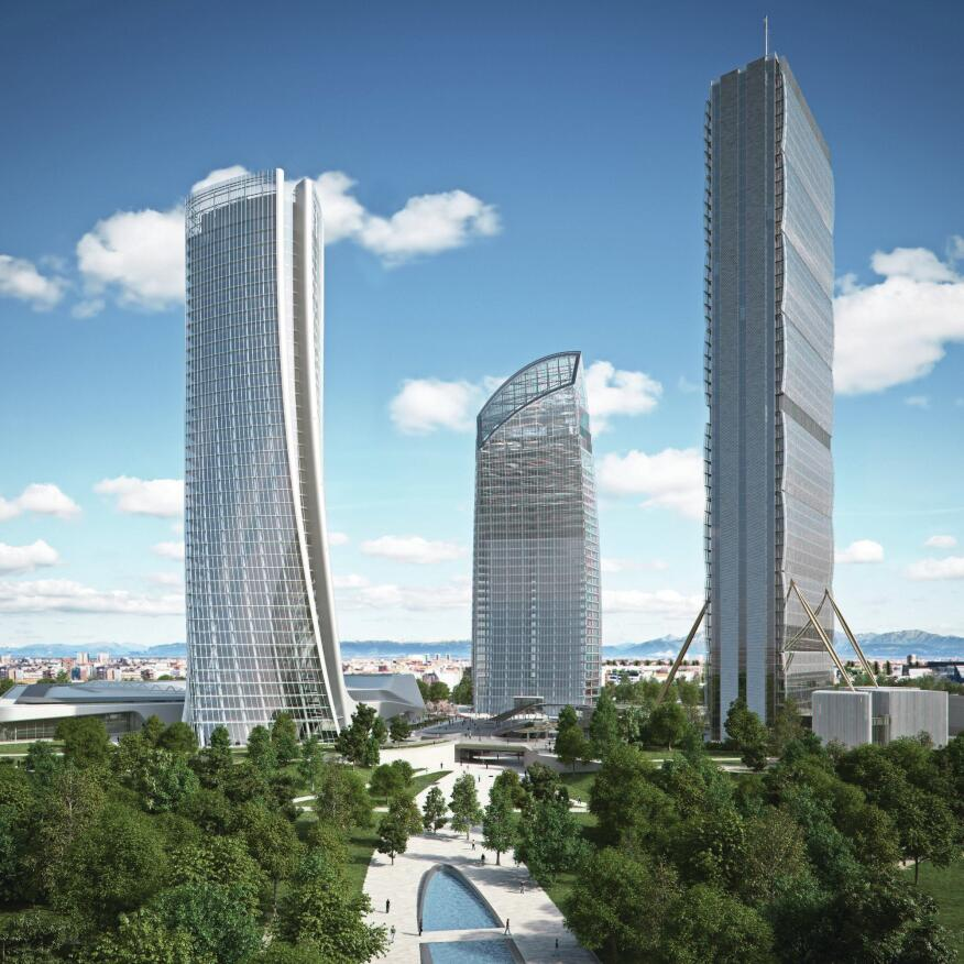 A rendering of the three office towers designed by (from left to right) Zaha Hadid Architects, Studio Daniel Libeskind, and Arata Isozaki & Associates. The Isozaki tower is nearly topped out.