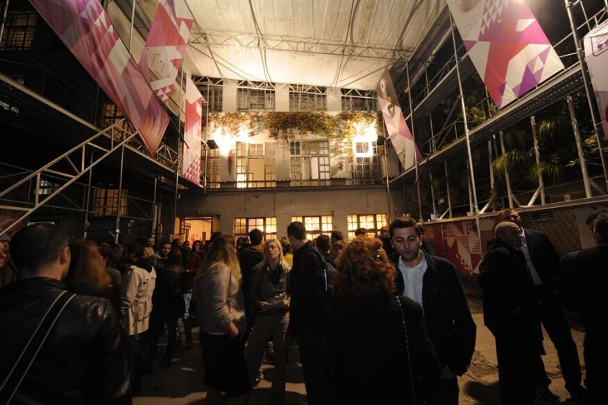 Festival goers at the opening of Belgrade Design Week in the renovated Staklopan factory.