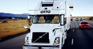 Look Ma, no hands! People in passing cars may do a double-take upon seeing no one at the wheel, but the driver is ready to take over at a moment's notice. In a Colorado DOT demonstration project, the self-driving truck transported a load of Budweiser beer along the 120-mile stretch of Interstate 5 from Fort Collins to Colorado Springs.