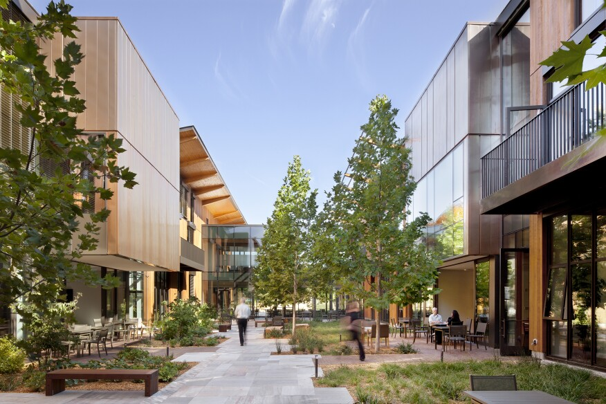 EHDD designed the David and Lucile Packard Foundation company headquarters, in Los Altos, Calif., to shade itself and fit amiably in its context. Occupants report an improved quality of life and sense of community because of the building, which is LEED Platinum certified, net-zero energy, and a 2014 AIA COTE Top Ten Award winner.