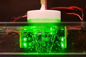 A demonstration of bacteria making electricity from light.