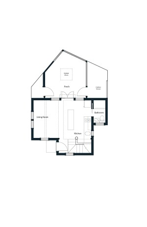 An open floor plan, ultra-efficient space planning, and ample space overhead create a tiny interior that lives large.