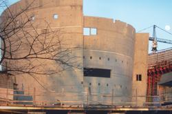 The Cradle Theater's elliptical shape required pouring more square feet of wall than deck.