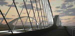 Attendees toured the Texas DOT bridge in Fort Worth, Texas, said to be the world's first precast concrete network-arch bridge. Tempe, Ariz.-based Sundt Construction cast a dozen, 300-ton post-tensioned concrete arches for the $26 million project. This rendering shows the bridge as it will appear when construction is completed this fall.