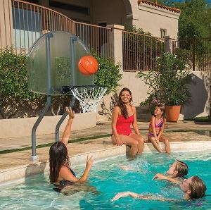 Accessories such as a basketball hoop are an easy upsell when renovating a pool.