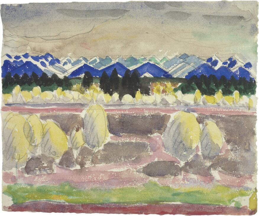 The exhibition follows the parallel development of Le Corbusier's architecture and art, as in an early watercolor, entitled Blue Mountains (1910).