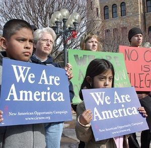 A new California law barring inquiries into a resident's citizenship status comes on the heels of nationwide pro-immigration rallies, such as this one in Scranton, Pa.