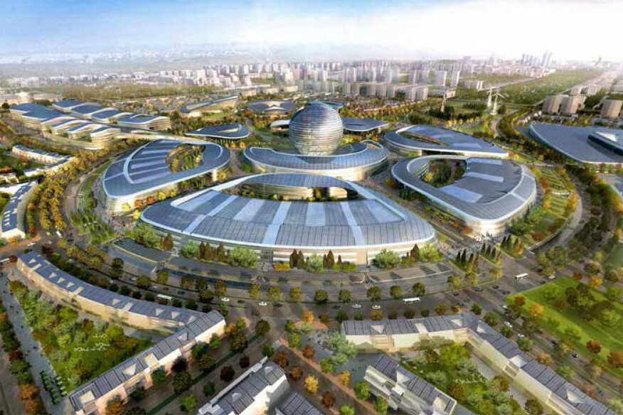Plans to embed photovoltaics into the double-curved glass of the central orb on the Kazakhstan Pavilion, for the country's 2017 expo, were altered due to cost.